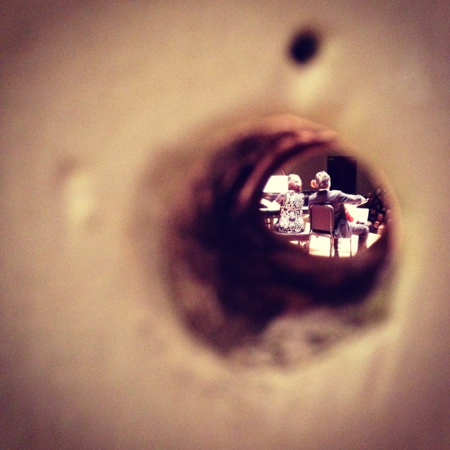 Yo-Yo Ma, performing Elgar's Salut d'Amour, from the Symphony Hall stage door peephole.