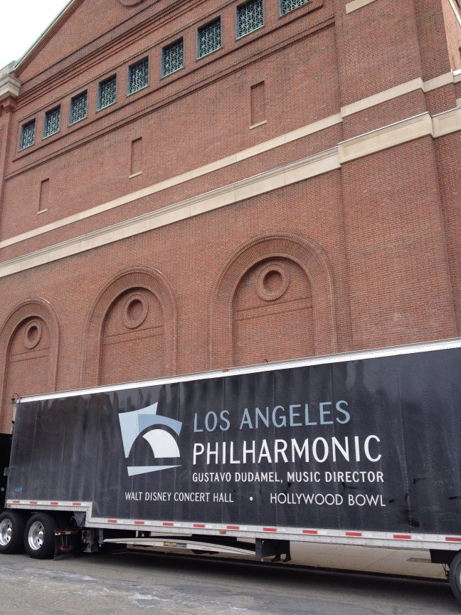 The LA Phil's equipment and large instrument truck, parked behind Boston's Symphony Hall.