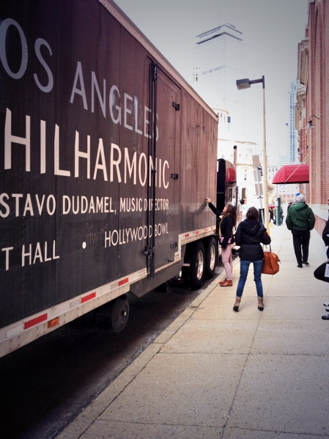 A few protesters of the Venezuelan government showed up at Symphony Hall and wrote messages on the side of the LA Phil's equipment truck.